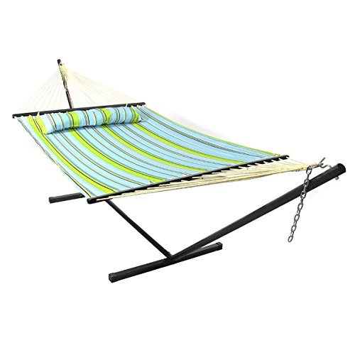 sunnydaze 12 ft steel stand with blue and green double spreader bar hammock  bo set sunnydaze 12 ft steel stand with blue and green double spreader      rh   myhammockstand