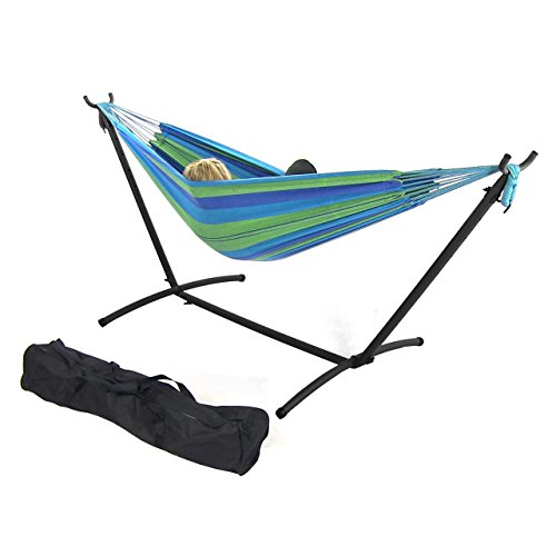 sunnydaze 9 ft steel hammock stand with double brazilian hammock  bo   beach oasis sunnydaze 9 ft steel hammock stand with double brazilian hammock      rh   myhammockstand