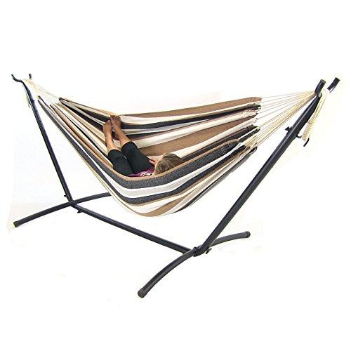sunnydaze 9 ft steel hammock stand with double brazilian hammock  bo   calming desert sunnydaze 9 ft steel hammock stand with double brazilian hammock      rh   myhammockstand