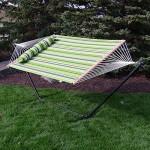 Sunnydaze 12 ft Steel Stand with Melon Stripe Double Spreader Bar Hammock Combo Set