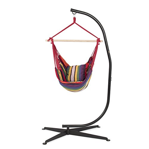 BELLEZZA Hammock Chair With C Stand Combo   Cotton Fabric   300 Lbs Weight  Capacity