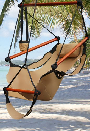 Medium image of best choice products hammock hanging chair air deluxe   tan   250 lbs weight capacity