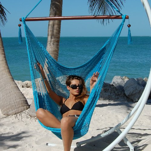 Medium image of caribbean hammocks large 48 inch polyester hammock chair   light blue   300 lbs weight