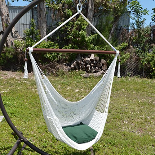 Attirant Caribbean Hammocks Large 48 Inch Polyester Hammock Chair   White   300 Lbs  Weight Capacity