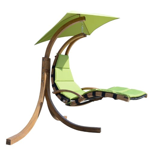 Outsunny Hanging Sky Swing Chair With Stand   Green