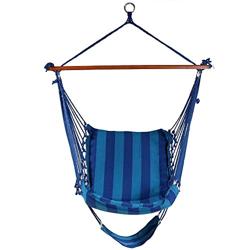 Sunnydaze 26 Inch Wide Hanging Hammock Chair With Footrest   Beach Oasis    330 Lbs Weight