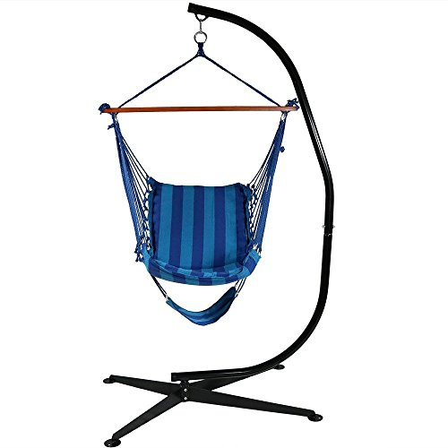 sunnydaze 26 inch wide hanging hammock chair with footrest and 7 ft cstand