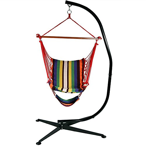 Sunnydaze 26 Inch Wide Hanging Hammock Chair With Footrest And 7 Ft C Stand