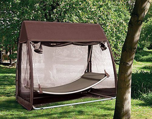 Abba Patio Hanging Swing Hammock With Mosquito Net Brown