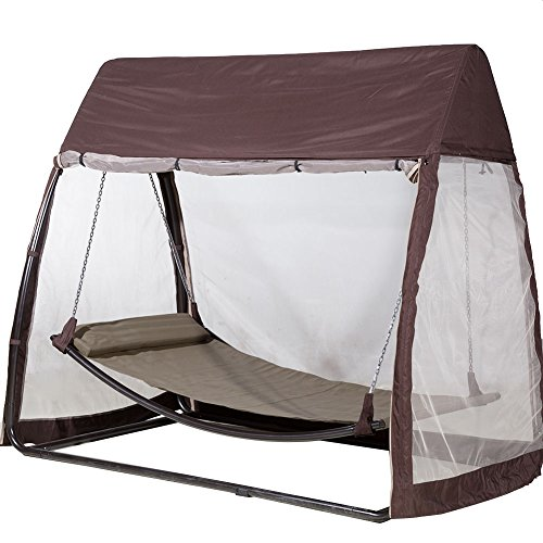 Abba Hanging Swing Hammock With Mosquito Net   Brown   300 Lb Weight  Capacity