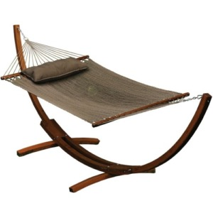 ALGOMA 12 ft Wooden Arc Stand with Caribbean Hammock and Pillow Combo