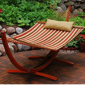 Algoma 12 Foot Wooden Arc Frame with Quilted Hammock and Matching Pillow