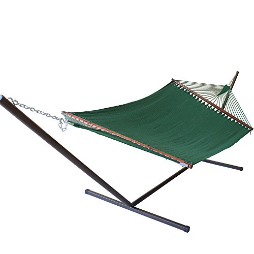 Caribbean Hammocks Jumbo Hammock and 15 ft Tribeam Stand - Green