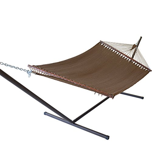 Caribbean Hammocks Jumbo Hammock and 15 ft Tribeam Stand - Mocha