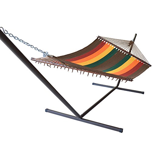 Caribbean Hammocks Jumbo Hammock and 15 ft Tribeam Stand - Multi Color Red