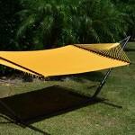 Caribbean Hammocks Jumbo Hammock and 15 ft Tribeam Stand - Yellow