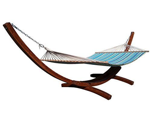 Petras 14 ft Wooden Arc Hammock Stand and Double Hammock Set