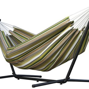 Vivere Double Sunbrella Hammock & 9' Steel Stand - Limelight