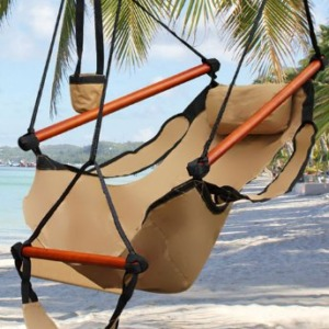 Best Choice Products Hammock Hanging Chair Air Deluxe - Tan - 250 lbs Weight Capacity