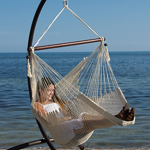 Caribbean Hammocks Hammock Chair with Footrest - 40 inch - Cream - 200 lbs Weight Capacity