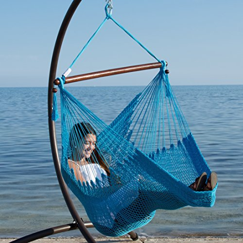 Caribbean Hammocks Hammock Chair with Footrest - 40 inch - Light Blue - 200 lbs Weight Capacity