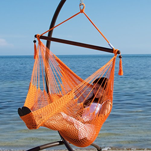 Caribbean Hammocks Hammock Chair with Footrest - 40 inch - Orange - 200 lbs Weight Capacity