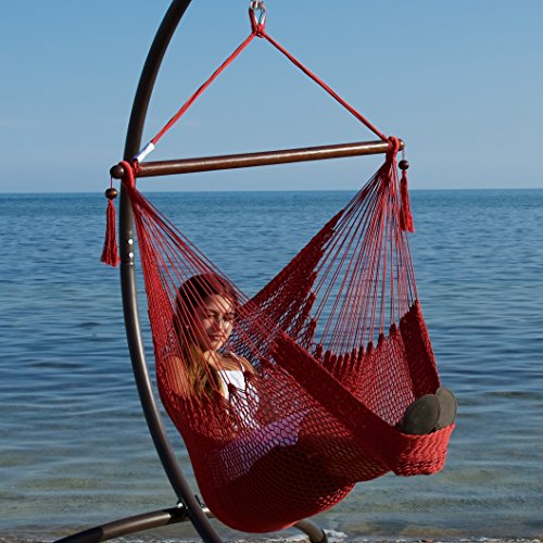 Caribbean Hammocks Hammock Chair with Footrest - 40 inch - Red - 200 lbs Weight Capacity
