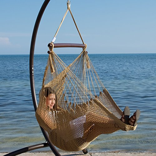 Caribbean Hammocks Hammock Chair with Footrest - 40 inch - Tan - 200 lbs Weight Capacity