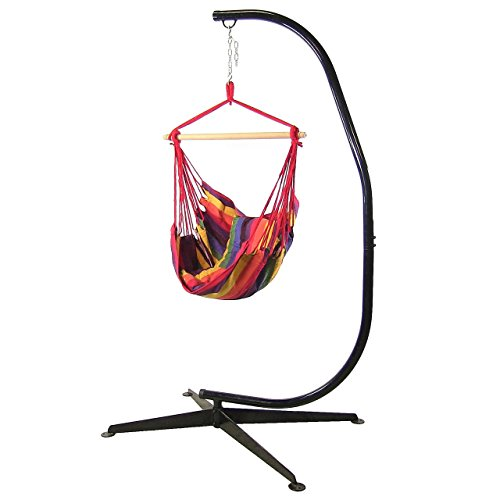 Sunnydaze Hanging Hammock Swing with Two Cushions and C-stand Combo - Sunset - 264 lbs Weight Capacity