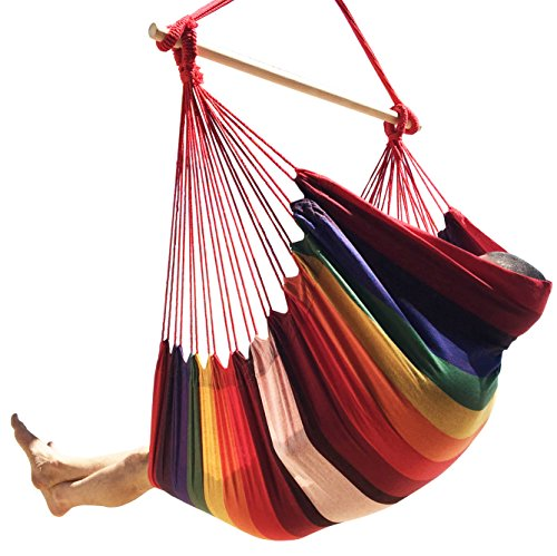 Hammock Sky Large Brazilian Hammock Chair - Extra Long - Hot Colors - 300 lbs Weight Capacity