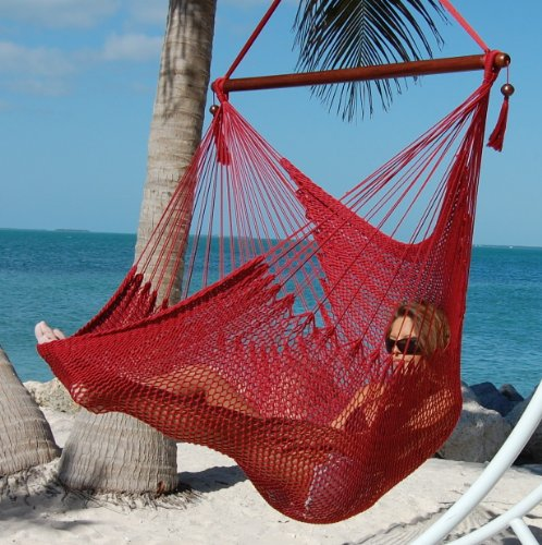Caribbean Hammocks Large 48-Inch Polyester Hammock Chair - Red - 300 lbs Weight Capacity