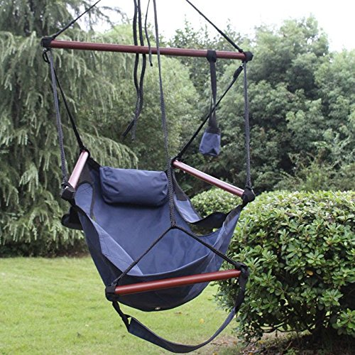 Sunnydaze Hanging Hammock Chair - 24 Inch Wide Seat - Blue - 250 lbs Weight Capacity