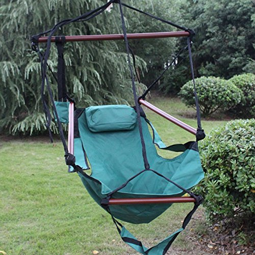 Sunnydaze Hanging Hammock Chair - 24 Inch Wide Seat - Green - 250 lbs Weight Capacity