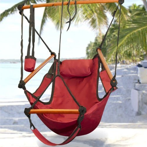 Sunnydaze Hanging Hammock Chair - 24 Inch Wide Seat - Red - 250 lbs Weight Capacity