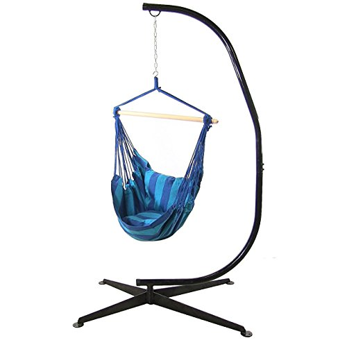 Sunnydaze Hanging Hammock Swing with Two Cushions and C-stand Combo - Oasis - 264 lbs Weight Capacity