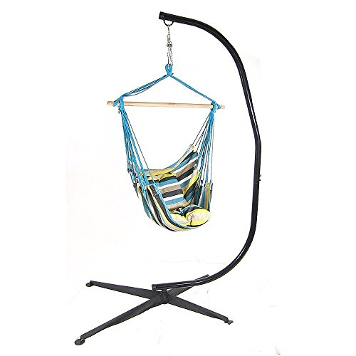 Sunnydaze Hanging Hammock Swing with Two Cushions and C-stand Combo - Ocean View - 264 lbs Weight Capacity