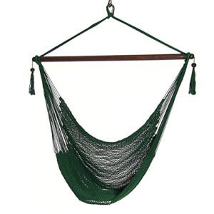 "Sunnydaze 40"" Hanging Caribbean XL Hammock Chair with Adjustable Stand - Green - 300 lbs Weight Capacity"