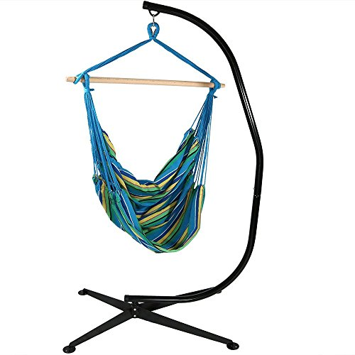 Sunnydaze Jumbo 44 Inch Wide Hanging Hammock Chair and 7 ft C-Stand - Ocean Breeze - 300 lbs Weight Capacity