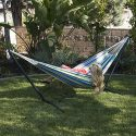 BELLEZZA Double Hammock with Space Saving 10 ft Steel Hammock Stand - Oasis - 450 lb Weight Capacity