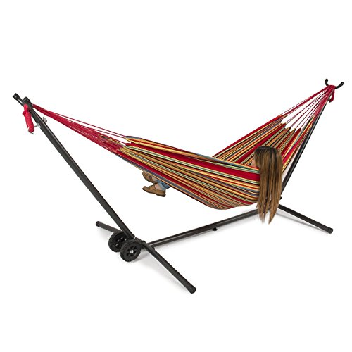 BELLEZZA Double Hammock with Space Saving 10 ft Steel Hammock Stand - Confetti - 450 lb Weight Capacity