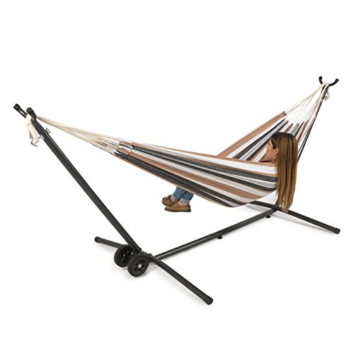 BELLEZZA Double Hammock with Space Saving 10 ft Steel Hammock Stand - Desert Moon - 450 lb Weight Capacity