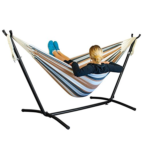 Driftsun Space Saving 9.8 ft Steel Hammock Stand with Two Person Portable Hammock - Earth - 450 lb Weight Capacity