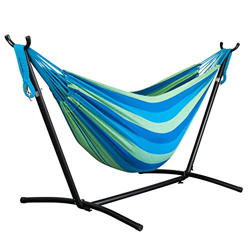 Driftsun Space Saving 9.8 ft Steel Hammock Stand with Two Person Portable Hammock - Forest - 450 lb Weight Capacity