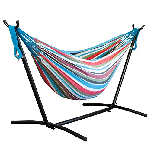 Driftsun Space Saving 9.8 ft Steel Hammock Stand with Two Person Portable Hammock - Rainbow - 450 lb Weight Capacity