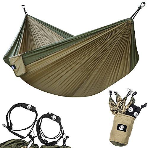 Legit Camping Portable Double Hammock - Khaki/Army Green - 400 lb Weight Capacity