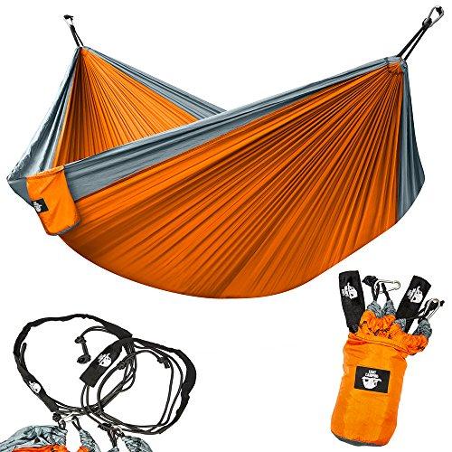 Legit Camping Portable Double Hammock - Grey/Orange - 400 lb Weight Capacity