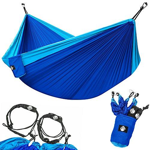 Legit Camping Portable Double Hammock - Light Blue/Blue - 400 lb Weight Capacity