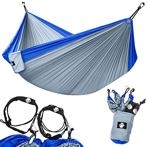 Legit Camping Portable Double Hammock - Blue/Grey - 400 lb Weight Capacity