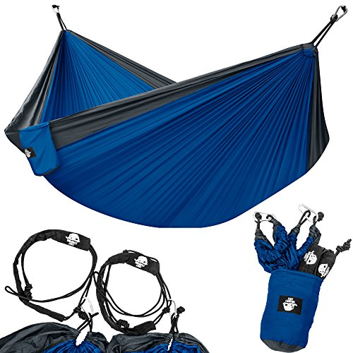 Legit Camping Portable Double Hammock - Charcoal/Royal - 400 lb Weight Capacity