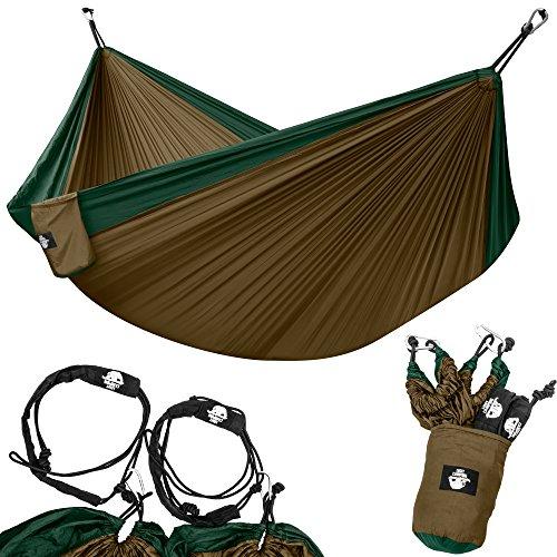 Legit Camping Portable Double Hammock - Dark Green/Brown - 400 lb Weight Capacity